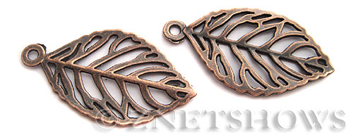 Base Metal Charms <b>49x27mm</b> Antique Copper Tone Elm Leaf (2-pc-bag) per   <b>5 Bags</b>