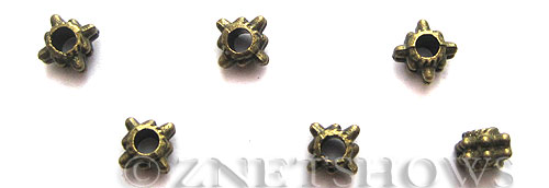 Base Metal Beads <b>5x4mm</b> Antique Brass Tone Dotted Spacers (26-pc-bag) per   <b>5 Bags</b>