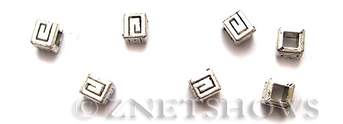Base Metal Beads <b>4mm</b> Antique Silver Tone maze pattern (27-pc-bag) per   <b>5 Bags</b>