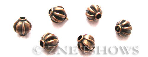 Base Metal Beads <b>8x7mm</b> Antique Copper Tone (10-pc-bag) per   <b>5 Bags</b>