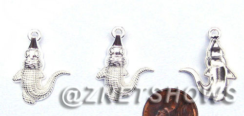 BM Sea Life - Alligator Charms <b>25x20mm</b> Bright Silver Tone  per   <b>28-pc-bag</b>