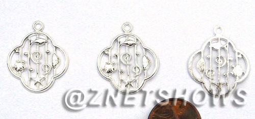 BM Sea Life - Sea Creature Pedant Charms <b>25x21mm</b> Bright Silver Tone    per   <b>30-pc-bag</b>