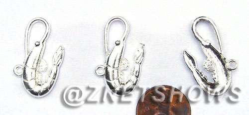 BM Sea Life - Crawfish Charms <b>28X17mm</b> Bright Silver Tone    per   <b>30-pc-bag</b>