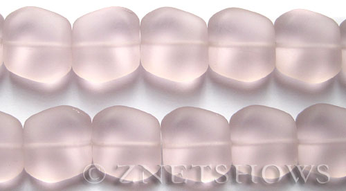 Cultured Sea Glass square nugget Beads  <b>18x17mm</b> 06-Blossom Pink (11-pc-strad)   per  <b>8-in-str</b>