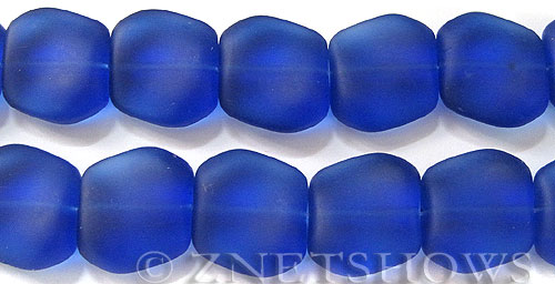 Cultured Sea Glass square nugget Beads  <b>18x17mm</b> 33-Royal Blue (11-pc-strad)   per  <b>8-in-str</b>