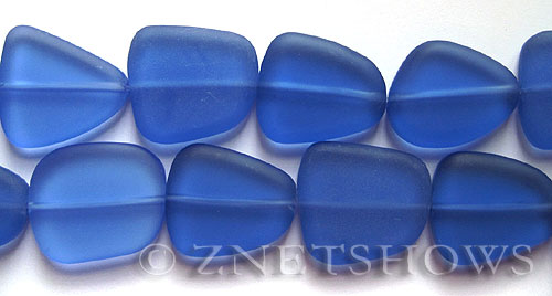 Cultured Sea Glass freeform flat Beads  <b>18-22mm</b> 31-Light Sapphire (9-pc-str)   per  <b>8-in-str</b>
