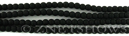Cultured Sea Glass round Beads  <b>4mm</b> 02-Jet Black (48 pcs in 8-in-strand)   per  <b>5-strand-hank</b>