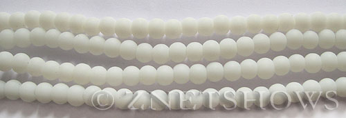 Cultured Sea Glass round Beads  <b>4mm</b> 42-Opaque White (48 pcs in 8-in-strand)   per  <b>5-strand-hank</b>
