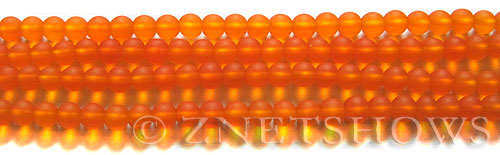 Cultured Sea Glass round Beads  <b>4mm</b> 83-Tangerine (48 pcs in 8-in-strand)   per  <b>5-strand-hank</b>