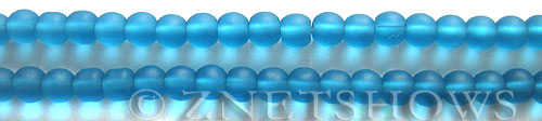 Cultured Sea Glass round Beads  <b>6mm</b> 30-Pacific Blue (32 pcs in 8-in-str)   per  <b>5-strand-hank</b>