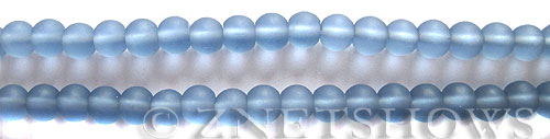 Cultured Sea Glass round Beads  <b>6mm</b> 31-Light Sapphire (32 pcs in 8-in-str)   per  <b>5-strand-hank</b>