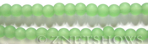Cultured Sea Glass round Beads  <b>6mm</b> 44-Opaque Spring Green (32 pcs in 8-in-str)   per  <b>5-strand-hank</b>