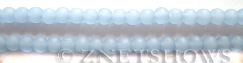 Cultured Sea Glass round Beads  <b>6mm</b> 47-Opaque Sky Blue (32 pcs in 8-in-str)   per  <b>5-strand-hank</b>
