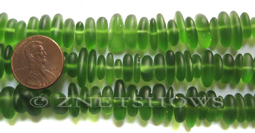 Cultured Sea Glass pebbles Beads  <b>9x6mm</b> 22-Olive    per  <b>8-in-str</b>