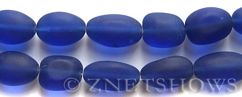 Cultured Sea Glass nugget Beads  <b>18-22mm</b> 33-Royal Blue (6-pc-str)(4-in-str)   per  <b>5-str-hank</b>