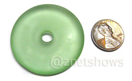 Cultured Sea Glass donut Pendants  <b>40mm</b> 23-Peridot    per  <b>piece</b>