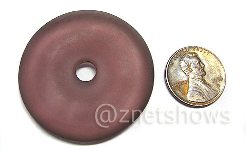 Cultured Sea Glass donut Pendants  <b>40mm</b> 37-Medium Amethyst    per  <b>piece</b>