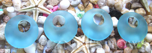 Cultured Sea Glass donut-earring Pendants  <b>20mm</b> 28-Turquoise Bay earring size   per  <b>14-pc-bag</b>