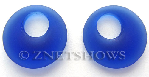 Cultured Sea Glass donut-earring Pendants  <b>20mm</b> 33-Royal Blue earring size   per  <b>14-pc-bag</b>