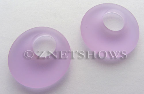 Cultured Sea Glass donut-earring Pendants  <b>20mm</b> 39-Periwinkle Changes earring size   per  <b>14-pc-bag</b>