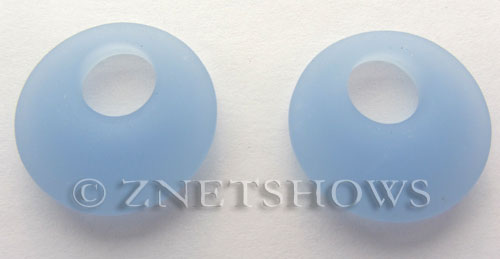 Cultured Sea Glass donut-earring Pendants  <b>20mm</b> 47-Opaque Sky Blue earring size   per  <b>14-pc-bag</b>