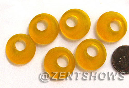 Cultured Sea Glass donut-earring Pendants  <b>20mm</b> 57-Saffron Yellow earring size   per  <b>14-pc-bag</b>