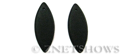 Cultured Sea Glass marquise spindle Pendants  <b>33x13mm</b> 02-Jet Black earring size   per  <b>10-pc-bag</b>