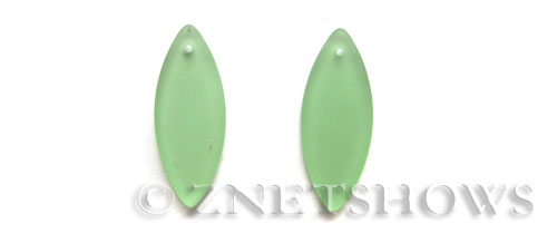Cultured Sea Glass marquise spindle Pendants  <b>33x13mm</b> 23-Peridot earring size   per  <b>10-pc-bag</b>