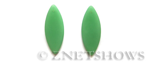 Cultured Sea Glass marquise spindle Pendants  <b>33x13mm</b> 44-Opaque Spring Green earring size   per  <b>10-pc-bag</b>