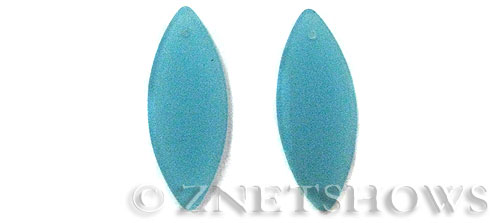 Cultured Sea Glass marquise spindle Pendants  <b>33x13mm</b> 46-Opaque Blue Opal earring size   per  <b>10-pc-bag</b>