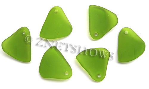 Cultured Sea Glass fancy triangle Pendants  <b>29x25mm</b> 22-Olive    per  <b>10-pc-bag</b>