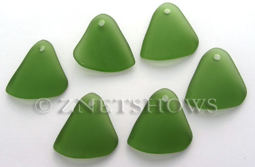 Cultured Sea Glass fancy triangle Pendants  <b>29x25mm</b> 25-Shamrock    per  <b>10-pc-bag</b>