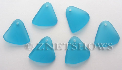 Cultured Sea Glass fancy triangle Pendants  <b>29x25mm</b> 30-Pacific Blue    per  <b>10-pc-bag</b>
