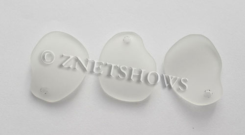 Cultured Sea Glass freeform curved-large Pendants  <b>32x26mm</b> 01-Crystal    per  <b>10-pc-bag</b>