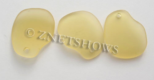 Cultured Sea Glass freeform curved-large Pendants  <b>32x26mm</b> 16-Desert Gold    per  <b>10-pc-bag</b>