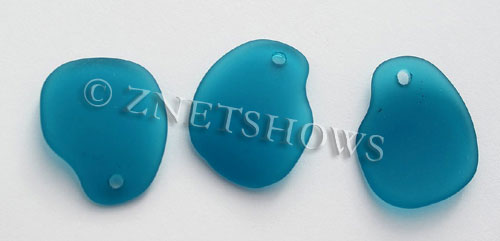 Cultured Sea Glass freeform curved-large Pendants  <b>32x26mm</b> 82-Teal    per  <b>10-pc-bag</b>