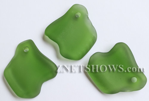 Cultured Sea Glass ridged freeform Pendants  <b>35x23mm</b> 25-Shamrock    per  <b>10-pc-bag</b>