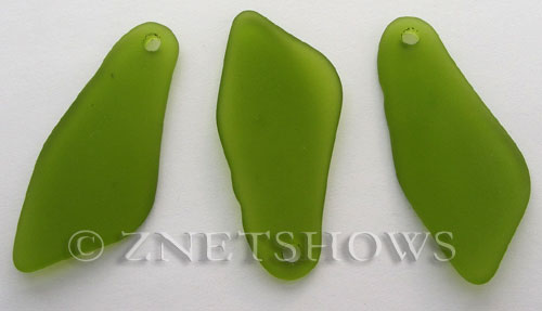 Cultured Sea Glass large shard Pendants  <b>48x22mm</b> 22-Olive    per  <b>7-pc-bag</b>