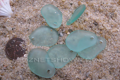Cultured Sea Glass small freeform curved Pendants  <b>26x18mm</b> 89-Autumn Green    per  <b>7-pc-bag</b>