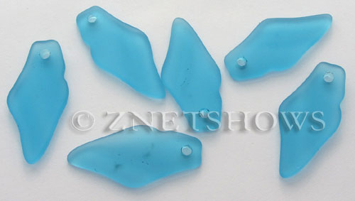 Cultured Sea Glass small shard Pendants  <b>39x17mm</b> 30-Pacific Blue    per  <b>7-pc-bag</b>