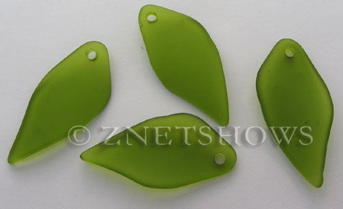 Cultured Sea Glass fancy shard Pendants  <b>45x20mm</b> 22-Olive    per  <b>7-pc-bag</b>