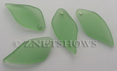Cultured Sea Glass fancy shard Pendants  <b>45x20mm</b> 23-Peridot    per  <b>7-pc-bag</b>