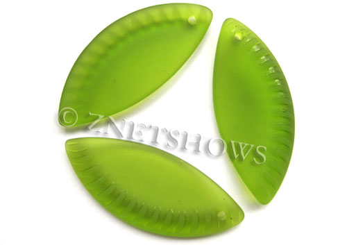 Cultured Sea Glass ridged crescent Pendants  <b>43x18mm</b> 22-Olive    per  <b>7-pc-bag</b>