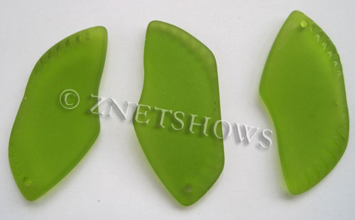 Cultured Sea Glass large ridged Pendants  <b>44x20mm</b> 22-Olive    per  <b>7-pc-bag</b>