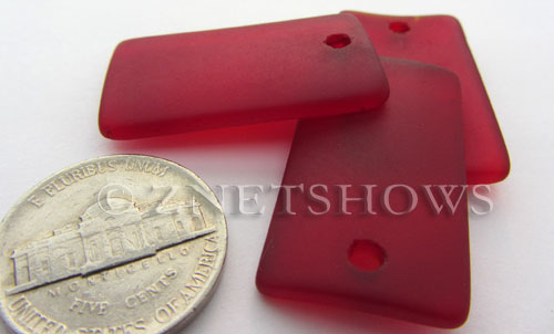 Cultured Sea Glass bottle-curved wide rectangle Pendants  <b>33x19mm</b> 05-Cherry Red    per  <b>6-pc-bag</b>