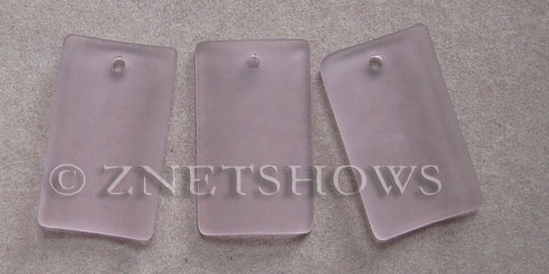 Cultured Sea Glass bottle-curved wide rectangle Pendants  <b>33x19mm</b> 06-Blossom Pink    per  <b>6-pc-bag</b>