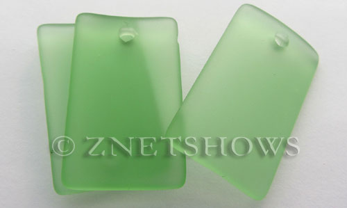 Cultured Sea Glass bottle-curved wide rectangle Pendants  <b>33x19mm</b> 23-Peridot    per  <b>6-pc-bag</b>