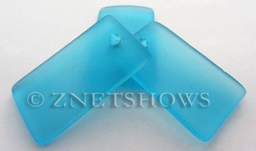Cultured Sea Glass bottle-curved wide rectangle Pendants  <b>33x19mm</b> 30-Pacific Blue    per  <b>6-pc-bag</b>