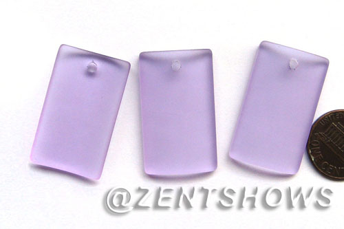 Cultured Sea Glass bottle-curved wide rectangle Pendants  <b>33x19mm</b> 39-Periwinkle Changes    per  <b>6-pc-bag</b>