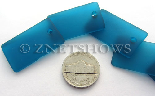 Cultured Sea Glass bottle-curved wide rectangle Pendants  <b>33x19mm</b> 82-Teal    per  <b>6-pc-bag</b>
